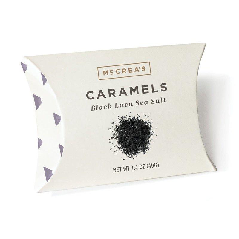 McCrea's Candies Black Lava Sea Salt Caramels. 2.4 ounce pillow