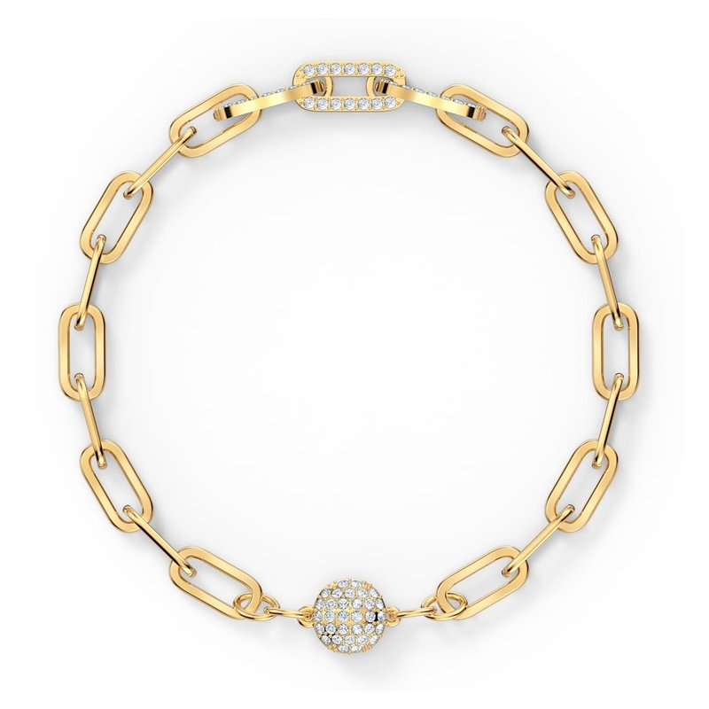 Swarovski The Elements Chain Bracelet, White, Gold-tone plated, Medium