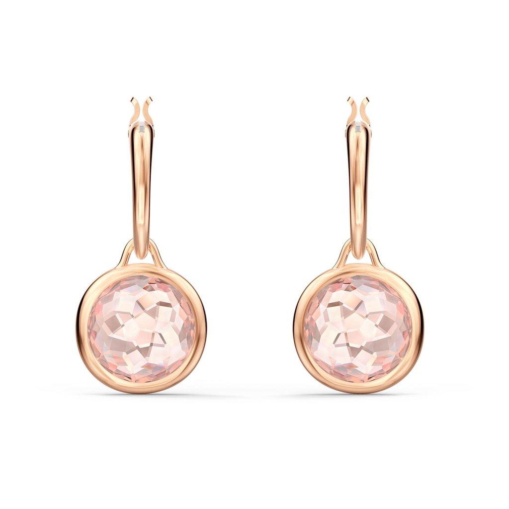 Swarovski Tahlia Mini Hoop Pierced Earrings, Pink, Rose-gold tone plated