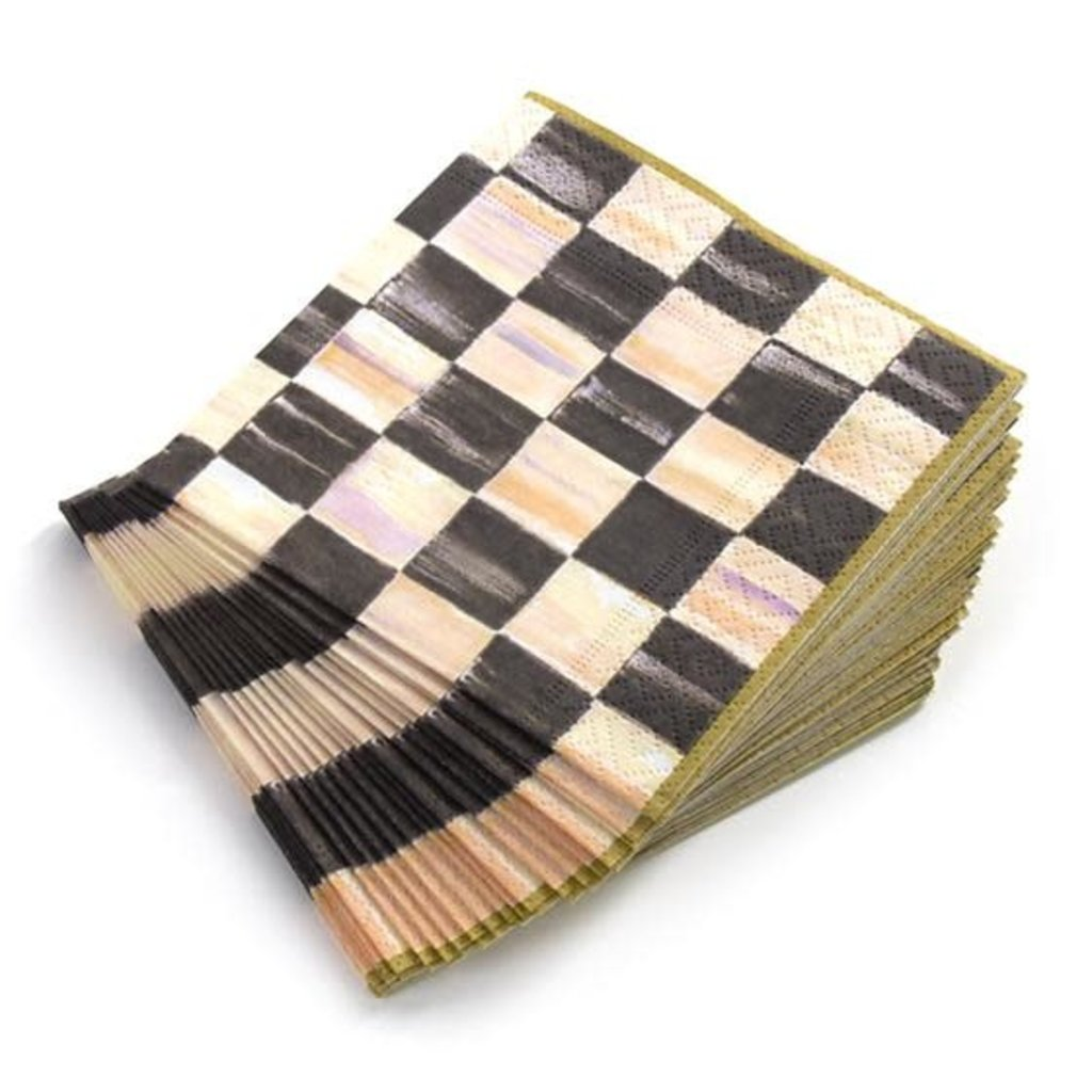 Mackenzie-Childs Courtly Check Paper Napkins - Cocktail - Gold