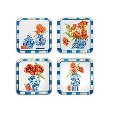 Mackenzie-Childs Chinoiserie Cork Back Coasters - Set Of 4
