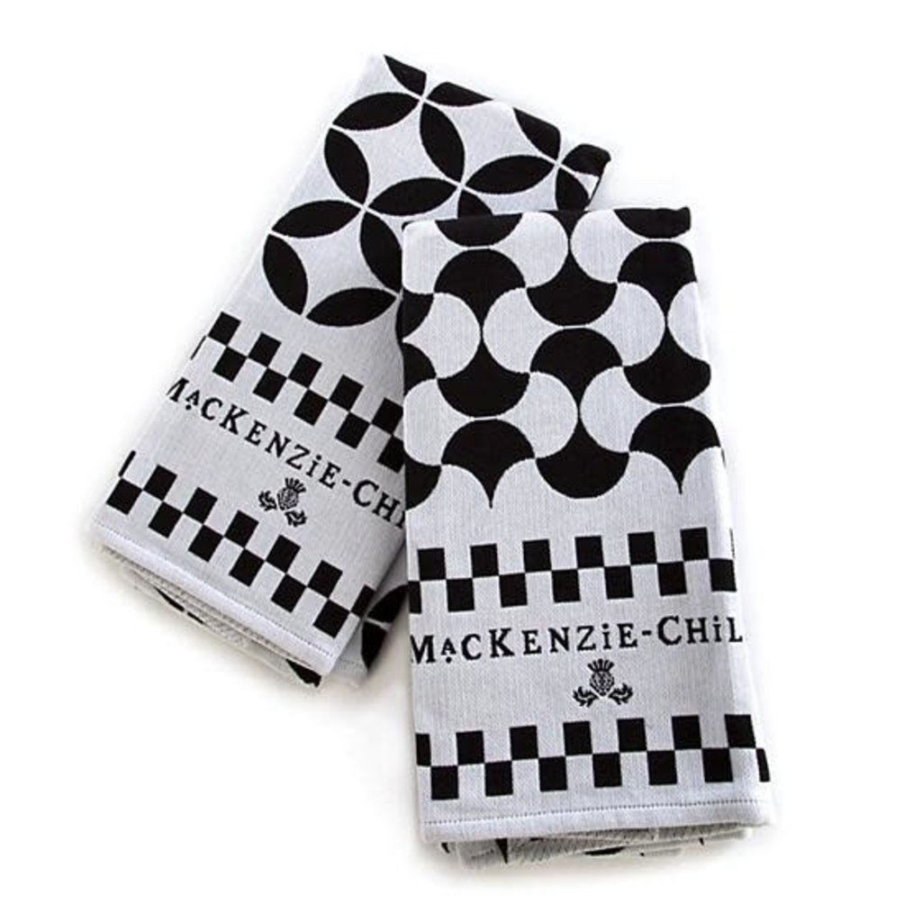 Mackenzie-Childs Geo Dish Towels - Black - Set Of 2
