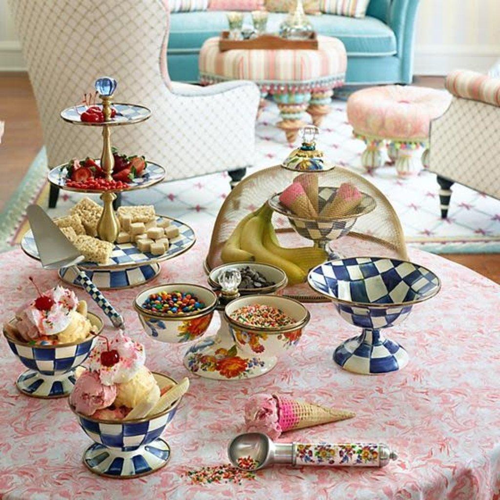 Mackenzie-Childs Royal Check Enamel Ice Cream Dish