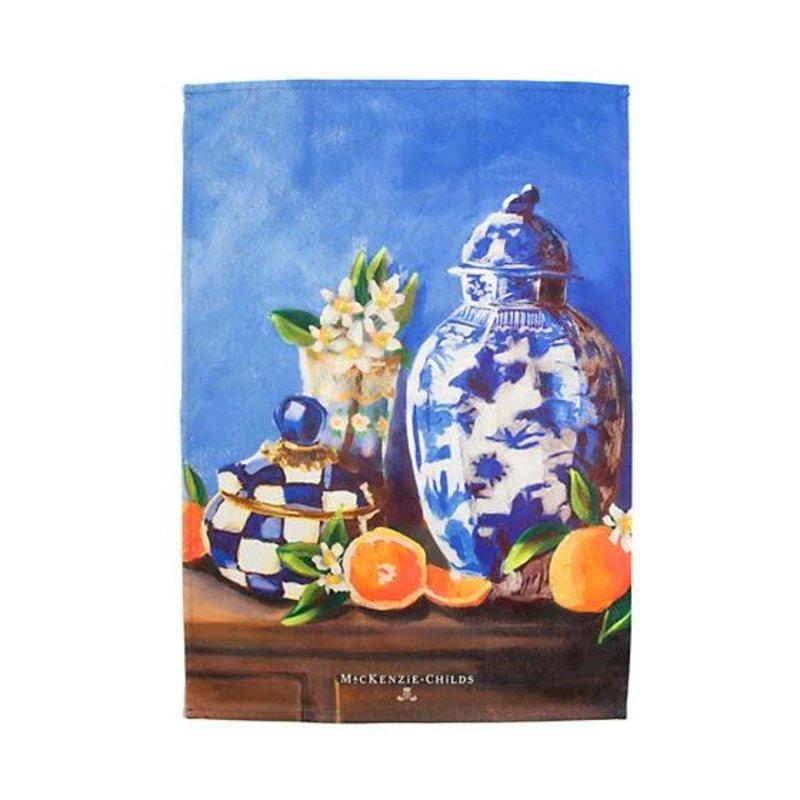 Mackenzie-Childs Royal Check Still Life Dish Towel - Vase