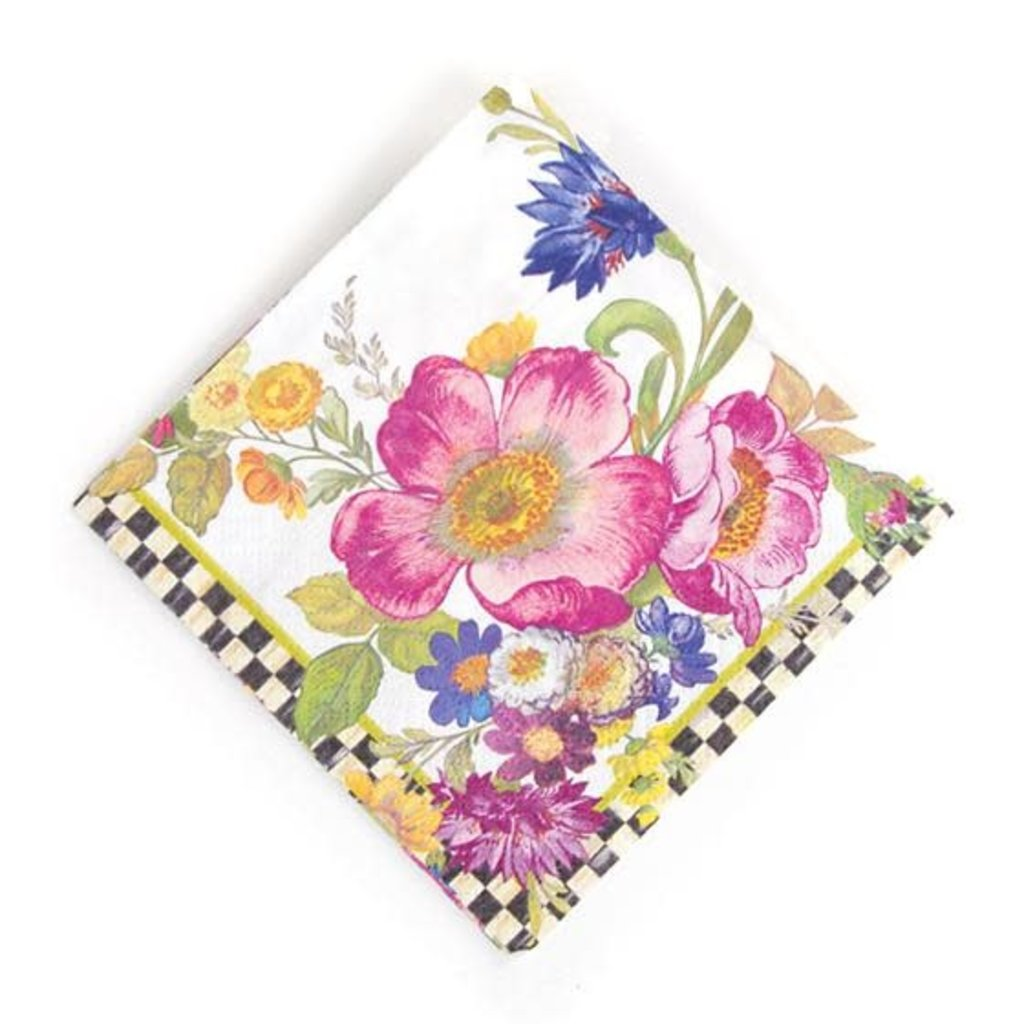 Mackenzie-Childs Flower Market Paper Napkins - Cocktail - White
