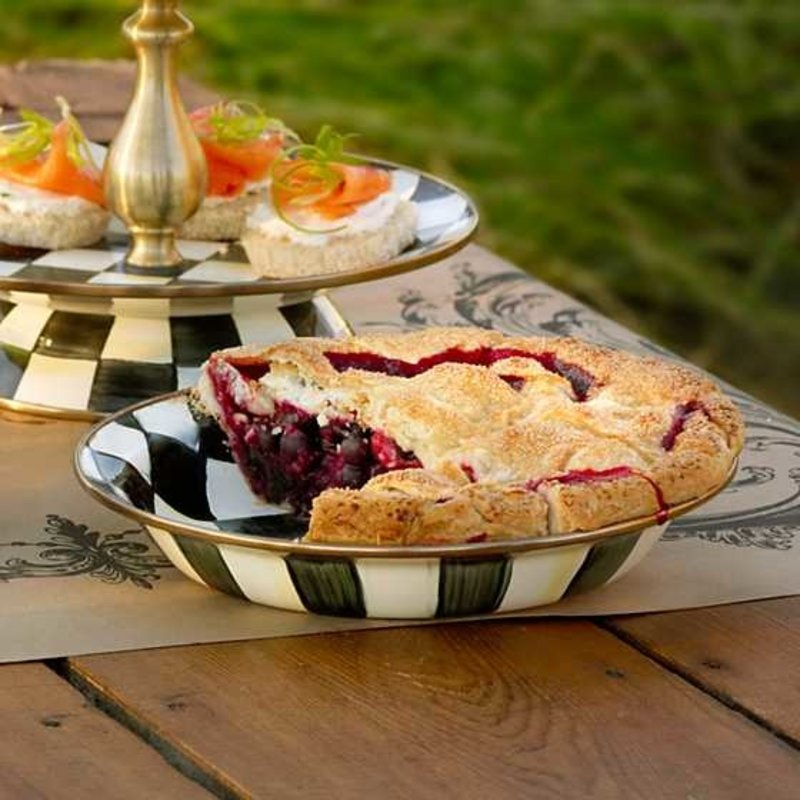 Mackenzie-Childs Courtly Check Enamel Pie Plate