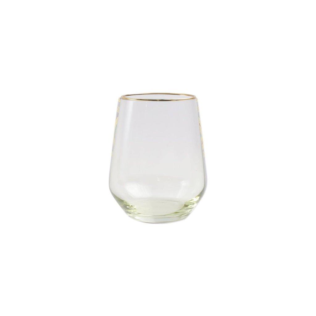 Vietri Rainbow Yellow Stemless Wine Glass