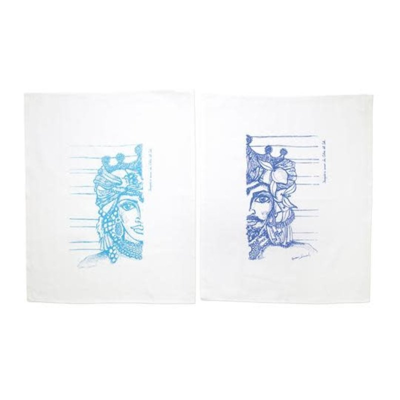 Vietri SICILIANO LINENS SICILIAN HEADS DISH TOWELS - SET OF 2