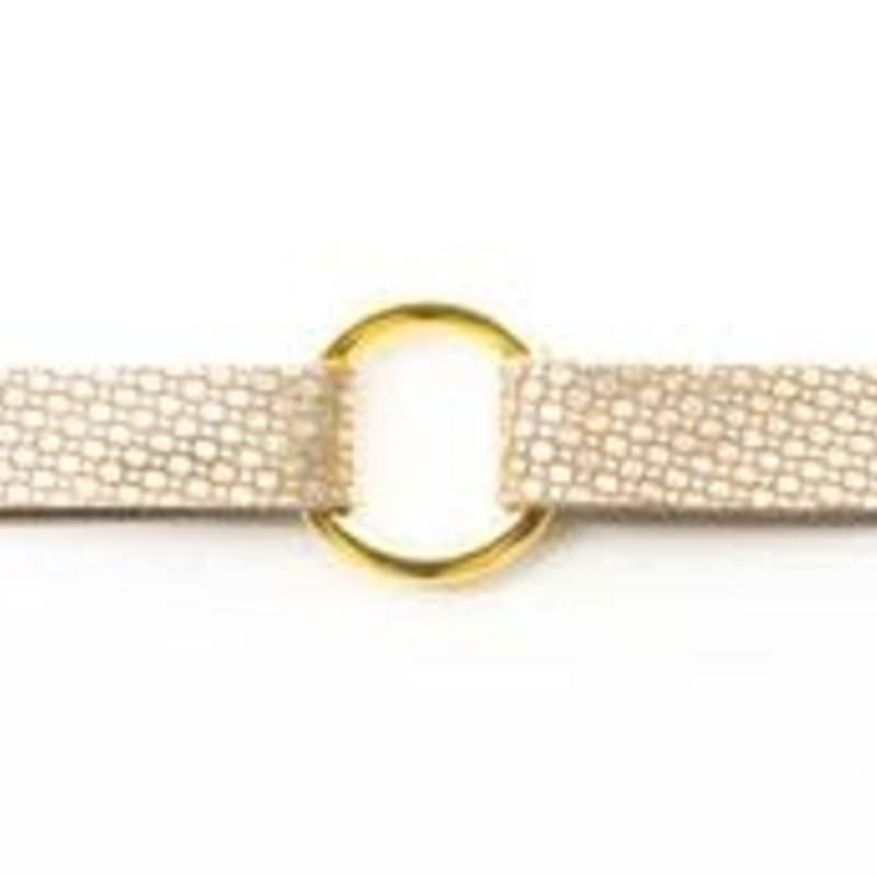 KEVA Style White and Gold Speckled Leather Bracelet-extended