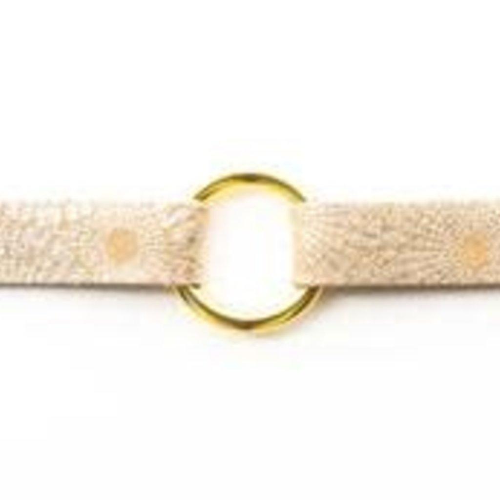 KEVA Style Starburst Gold Leather Bracelet-extended