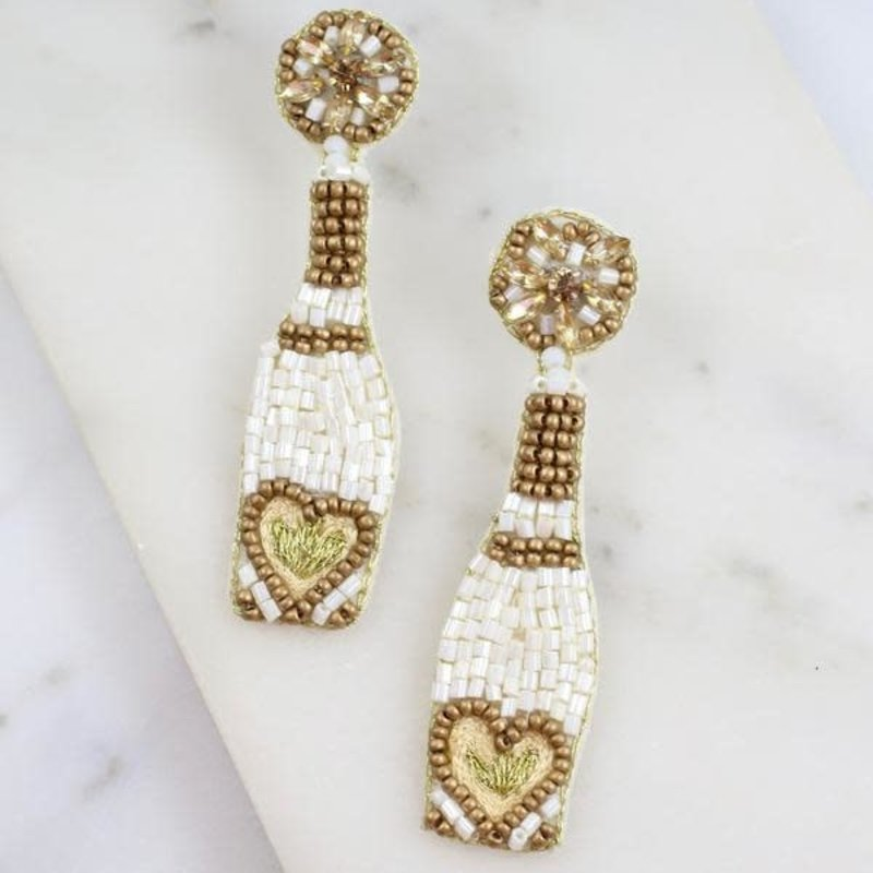 Caroline Hill But First, Bubbly Champagne Earring WHITE