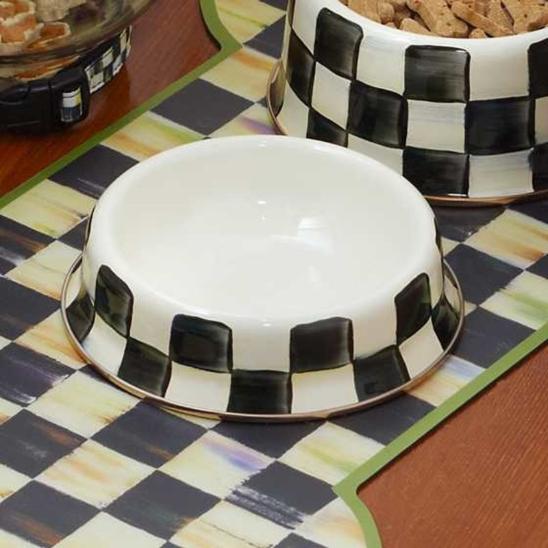 Mackenzie-Childs Courtly Check Enamel Cat Dish