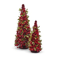 Two's Company Red Berry Christmas Trees, Set o/2
