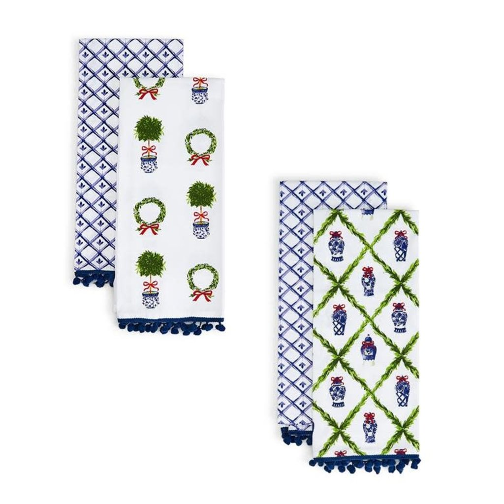 Two's Company Blue and White Dish Towels Set o/2