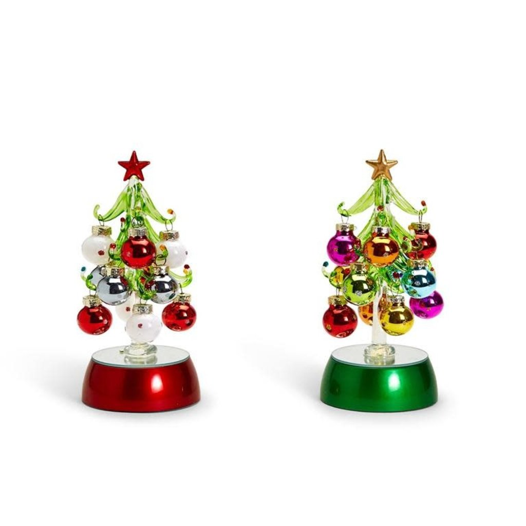 Two's Company Hand-Blown Glass Light Up Tree with Ornaments