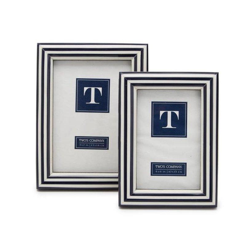 "Two's Company Nautical Stripe Photo Frame 5"" x 7"""