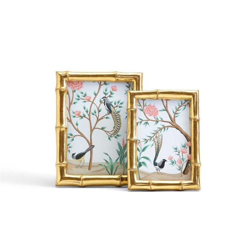 """Two's Company Gold Faux Bamboo 4"""" x 6"""" Photo Frame"""