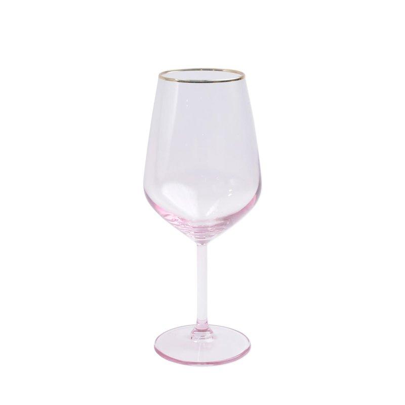 Vietri Rainbow Pink Wine Glass