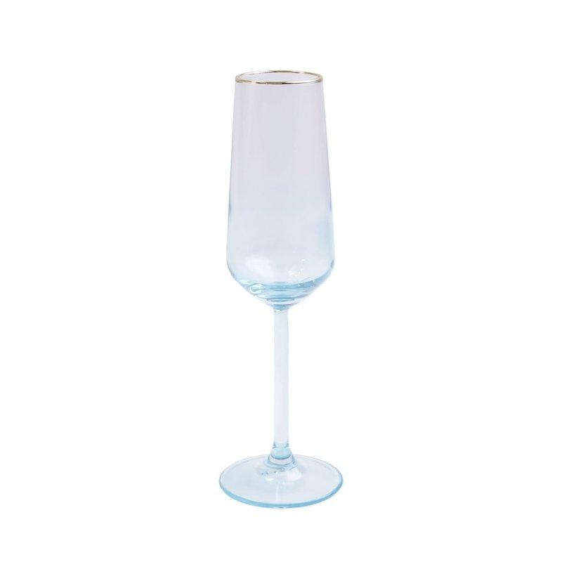 Vietri Rainbow Turquoise Champagne Flute