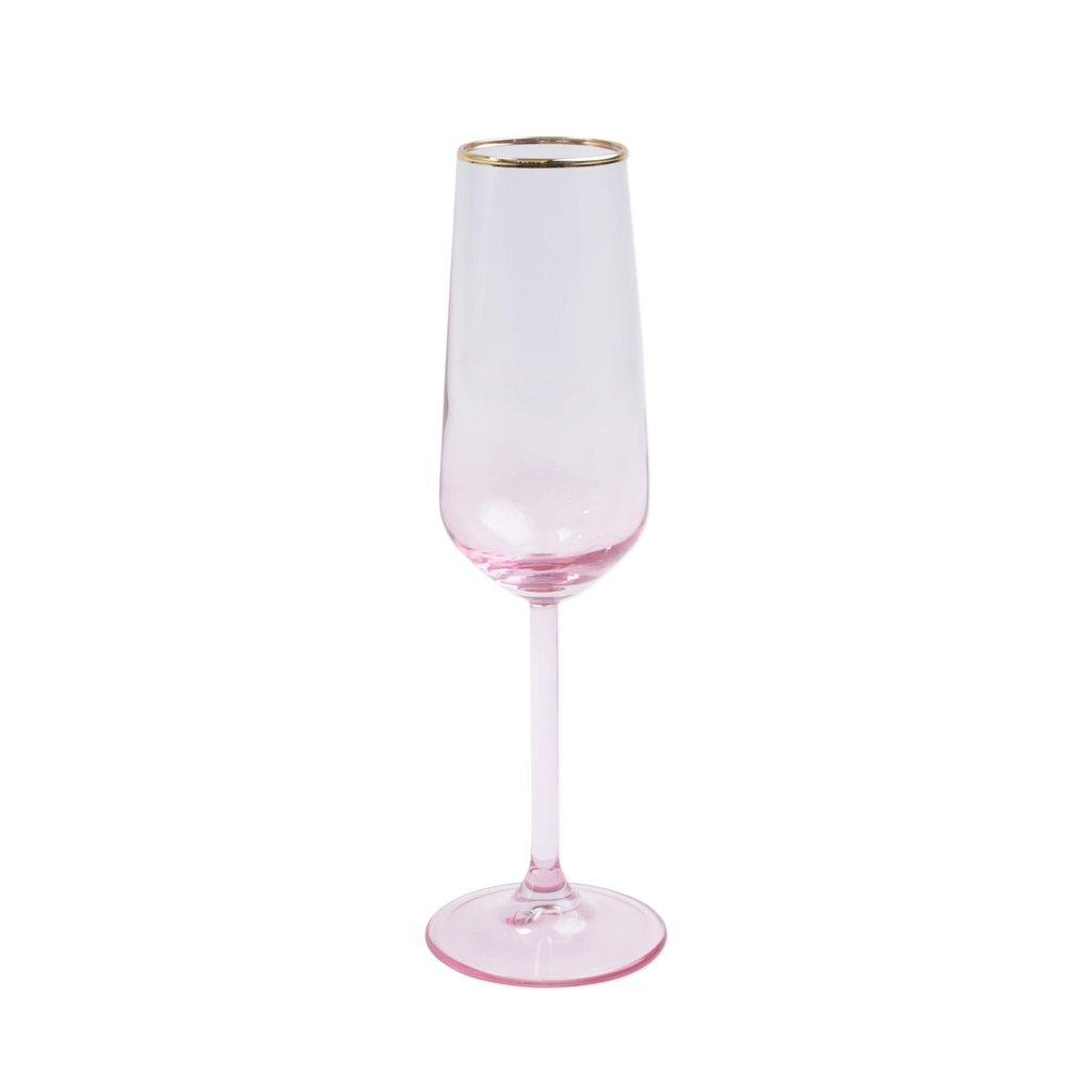 Vietri Rainbow Pink Champagne Flute