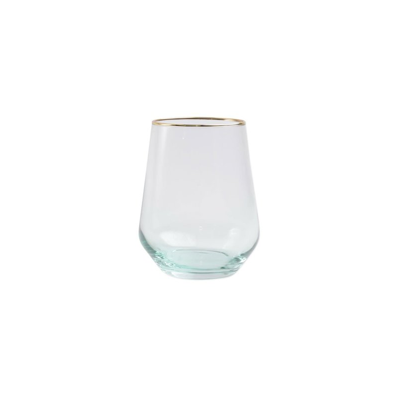 Vietri Rainbow Green Stemless  Wine Glass