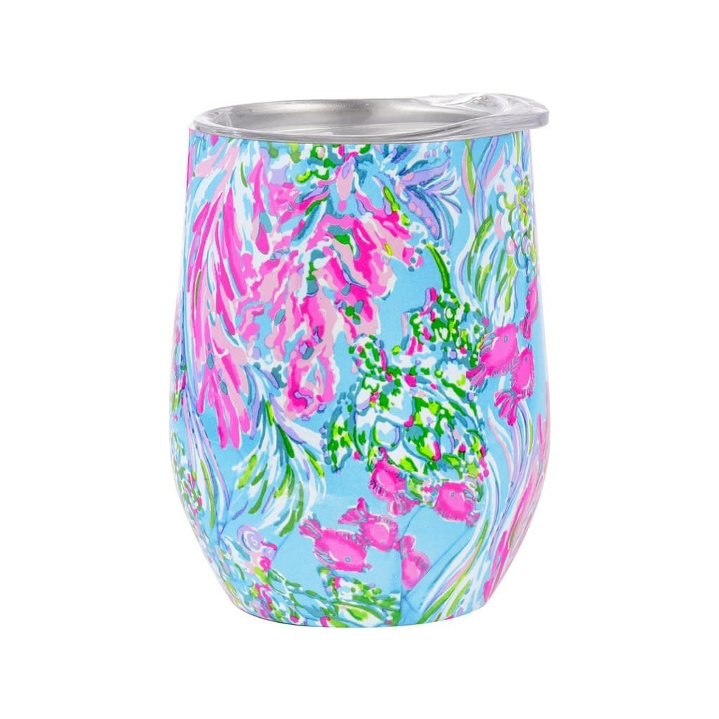 Lilly Pulitzer Stemless Stainless Steel Wine Glass, Best Fishes
