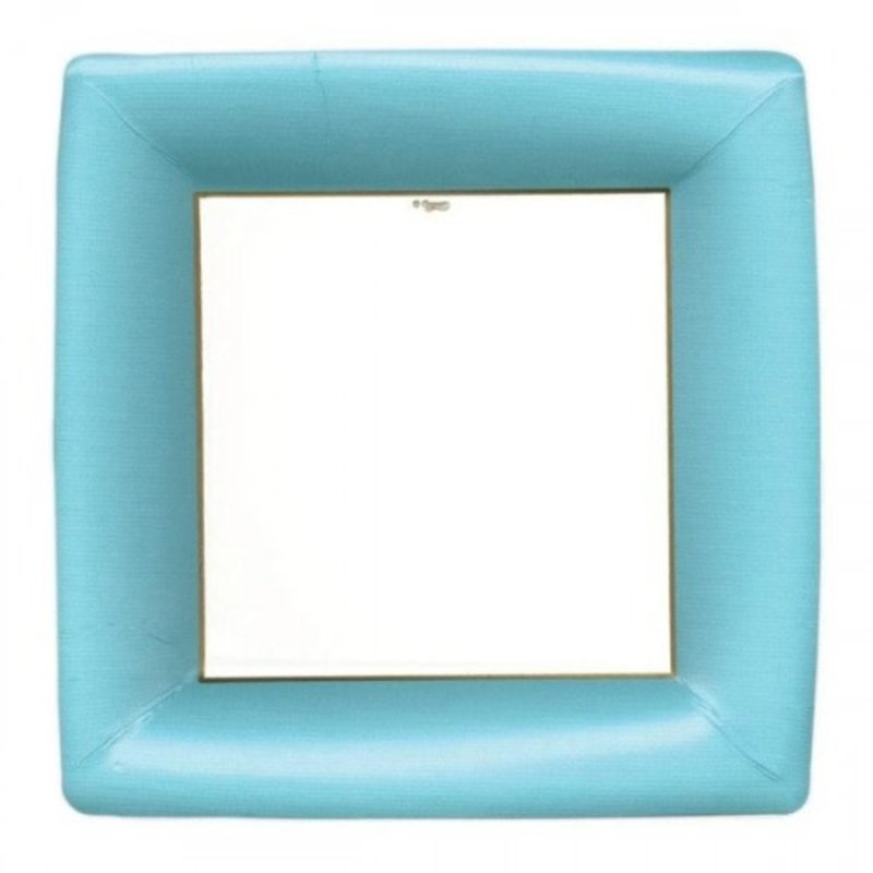 Caspari Grosgrain Border Blue Paper Salad Plates, pkg of 8