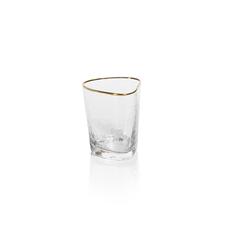 Zodax Aperitivo Triangular Dof Glass, Clear W/Gold Rim