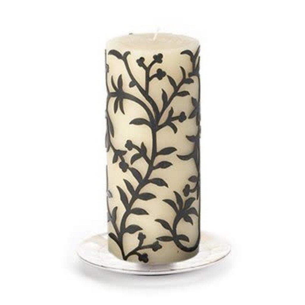 Mackenzie-Childs Vine Pillar Candle Black/White
