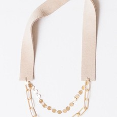 """Leslie Curtis Jewelry Designs Anah - Beautiful Layered Matte Gold Chains, Sand Suede 18"""""""