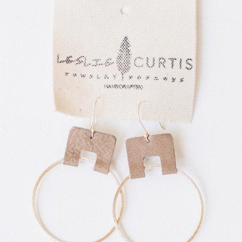 Leslie Curtis Jewelry Designs Hannah - Gold Hoop Embellished W/Leather Hoop Brown 2