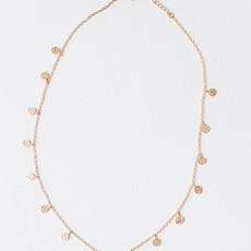 """Leslie Curtis Jewelry Designs Haley - 18K Gold Plated Necklace W/Tiny Gold Disks 16"""""""