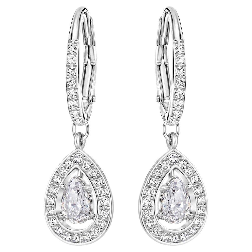 Swarovski Angelic Drop Pear earrings White, Rhodium plated