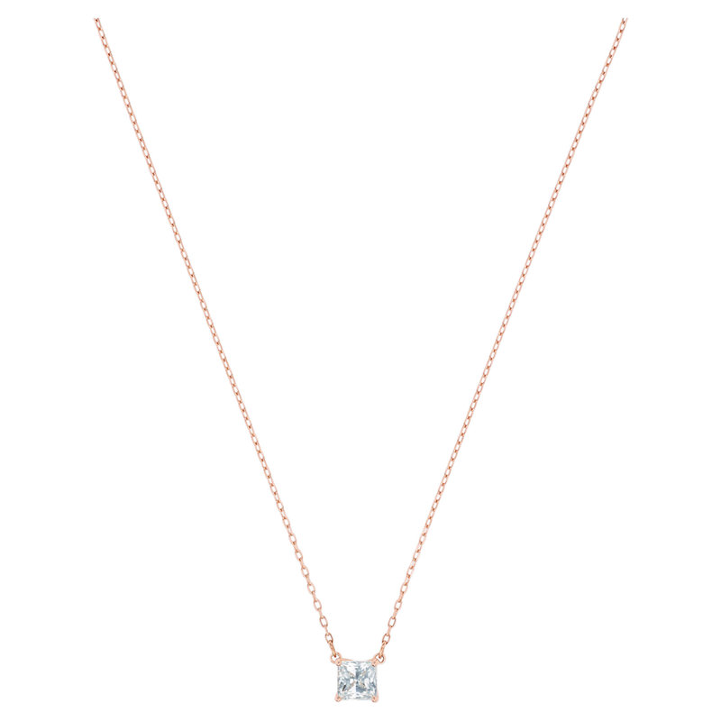 Swarovski Attract necklace Square, White, Rose gold-tone plated