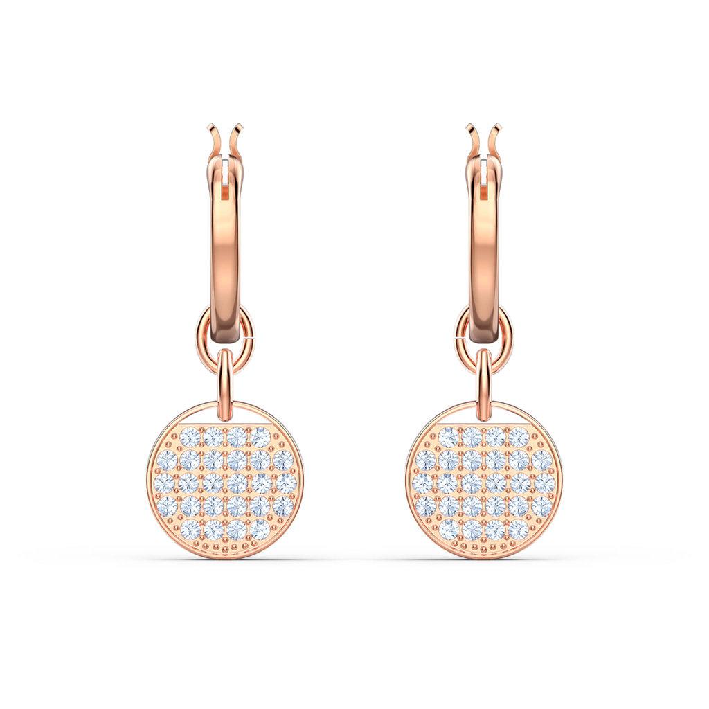Swarovski Ginger hoop earrings White, Rose gold-tone plated