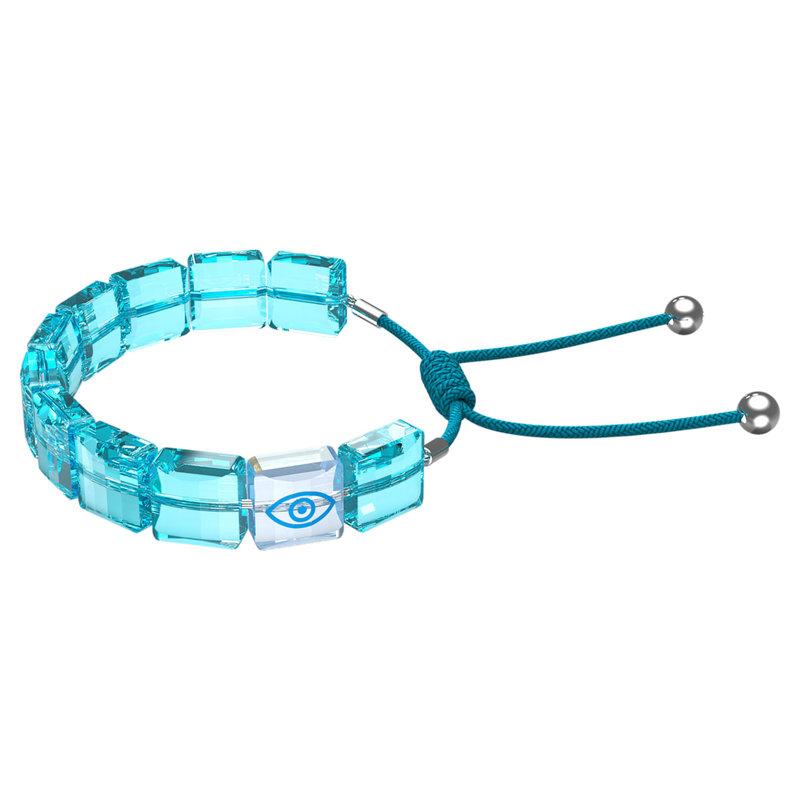 Swarovski Letra bracelet Evil eye, Blue, Rhodium plated