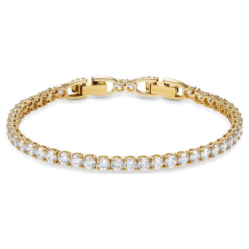 Swarovski Tennis Deluxe bracelet Round, White, Gold-tone plated