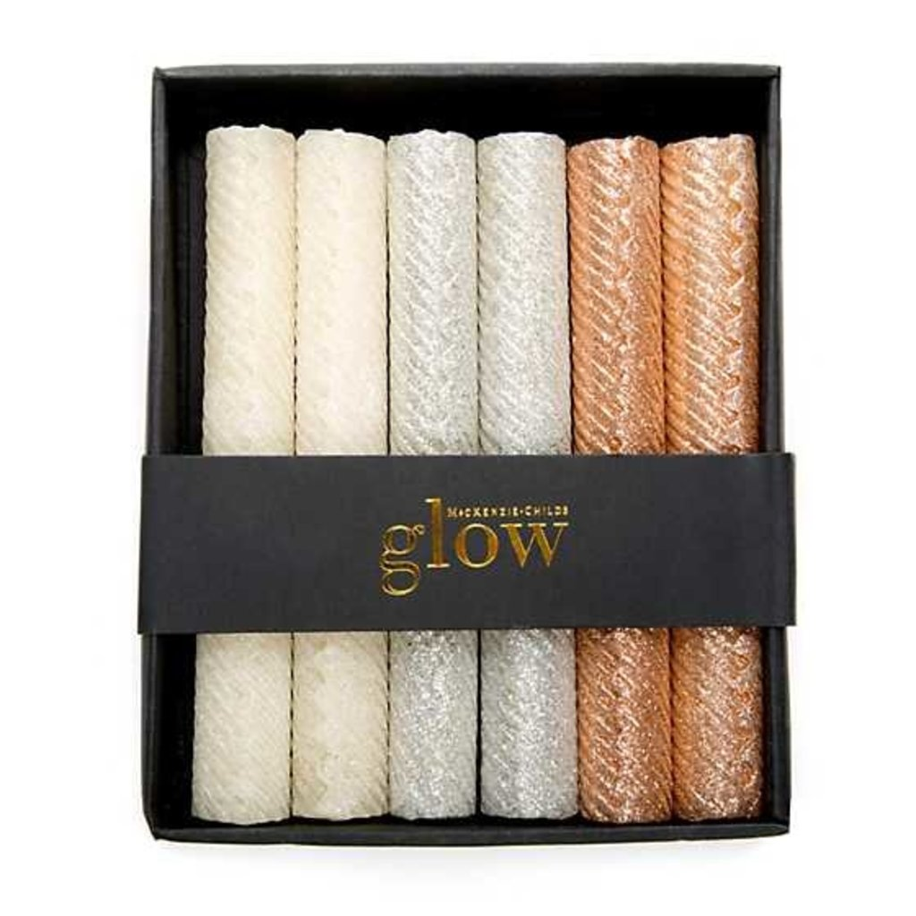 GLOW MINI DINNER CANDLES - ROSE GOLD, SILVER, & PEARL - SET OF 6