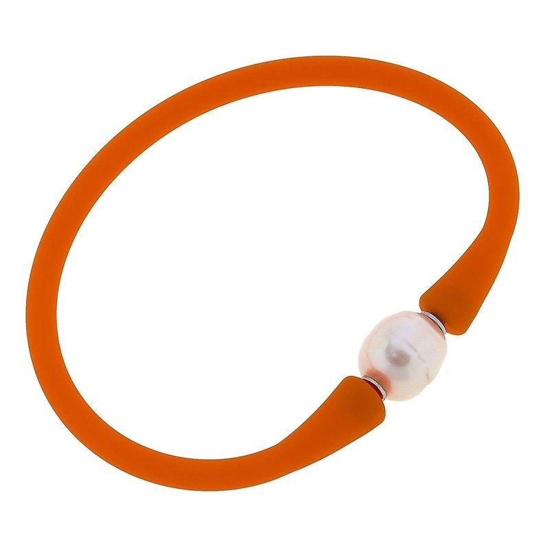 Canvas Bali Freshwater Pearl Silicone Bracelet in Orange
