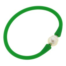 Canvas Bali Freshwater Pearl Silicone Bracelet in Green
