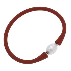 Canvas Bali Freshwater Pearl Silicone Bracelet in Rust