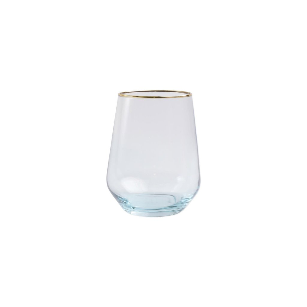 Vietri Rainbow Turquoise Stemless Wine Glass