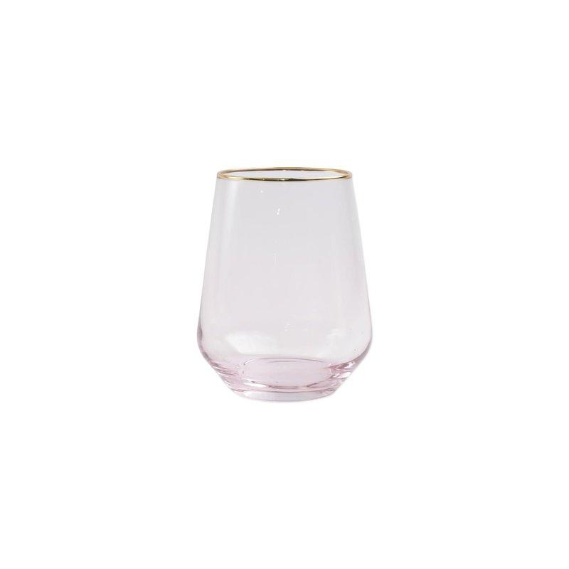 Vietri Rainbow Pink Stemless Wine Glass