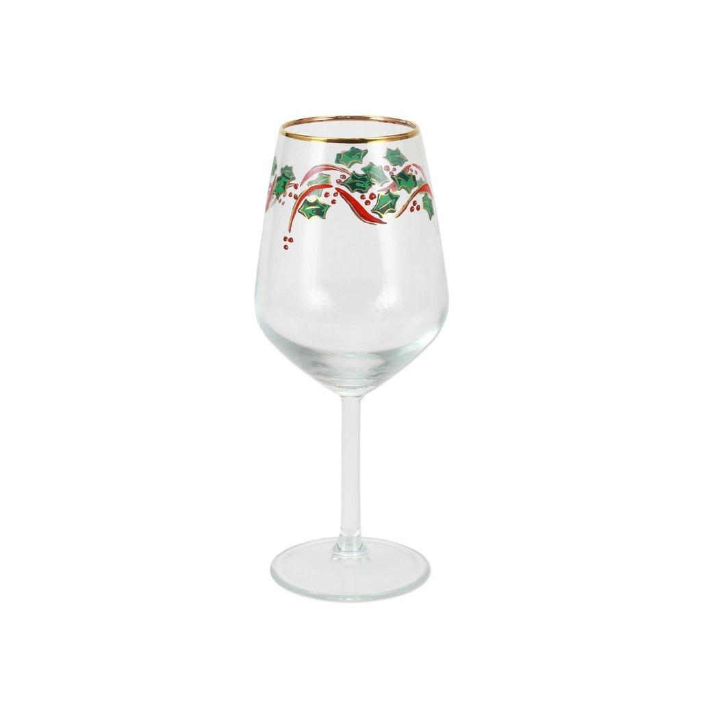Vietri Holly Wine Glass