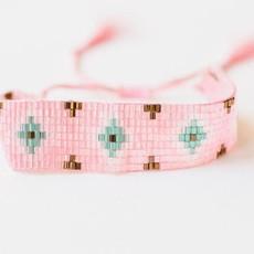 "Leslie Curtis Jewelry Designs Elise Little - Pink Beaded Boho Bracelet Tassels 6"" Adjustable"