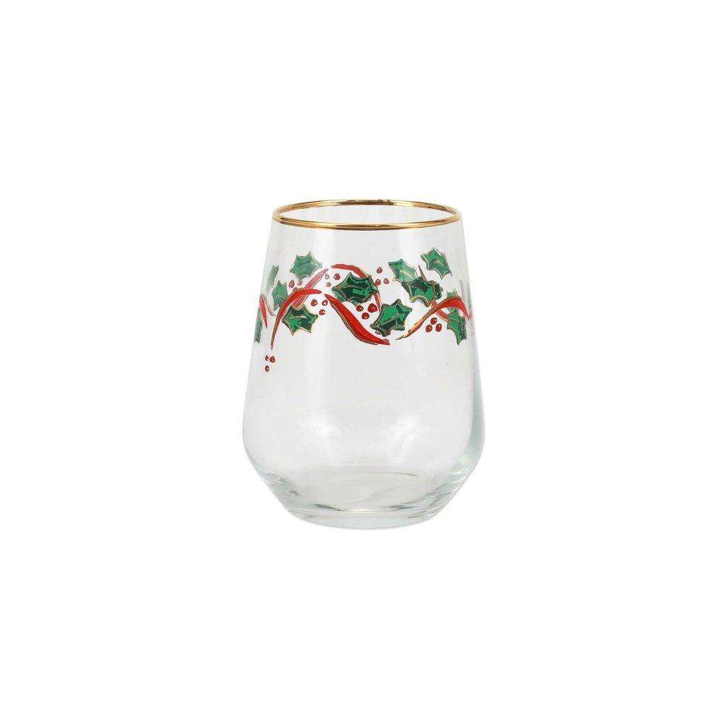 Vietri Holly Stemless Wine Glass