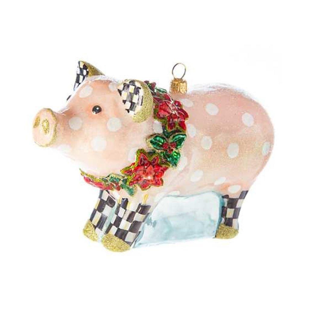 Mackenzie-Childs Polka Dot Pig Glass Ornament
