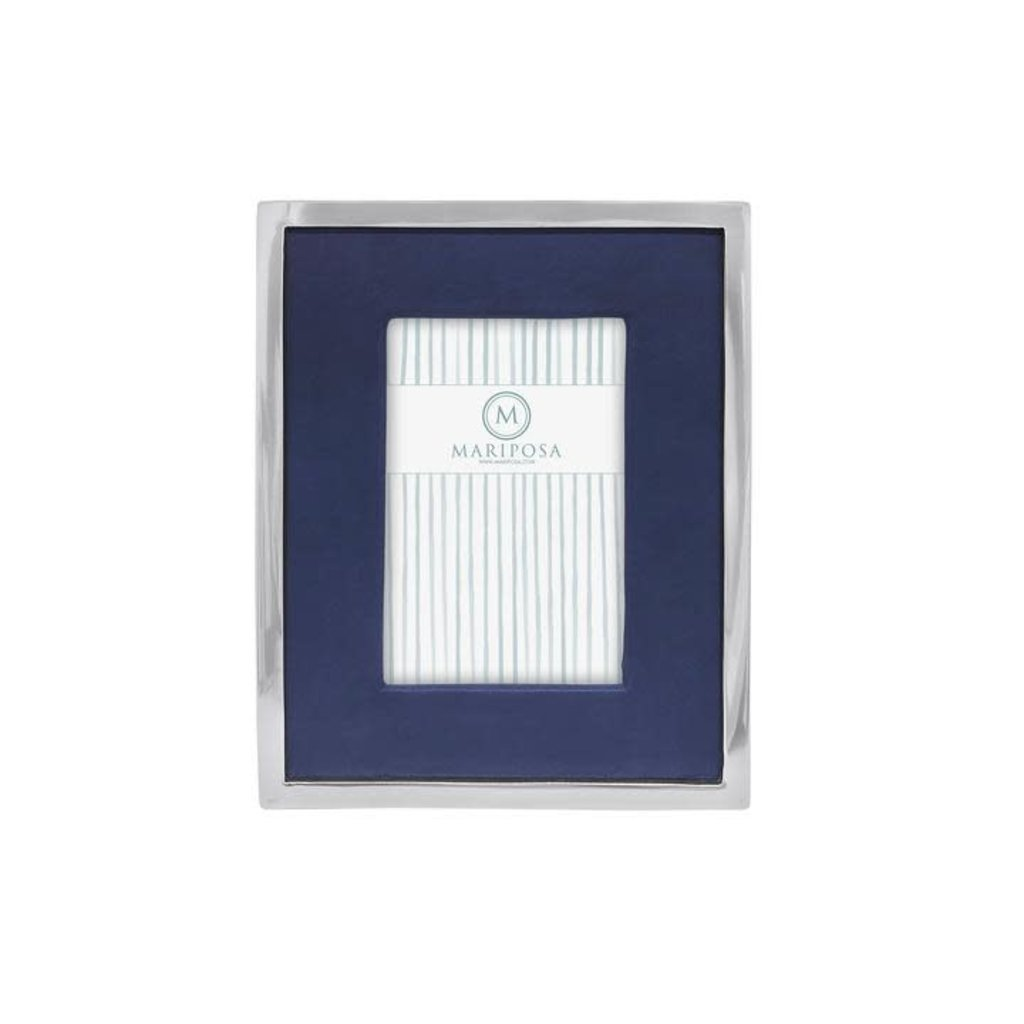 Mariposa Blue Leather with Metal Border, 4x6 Frame
