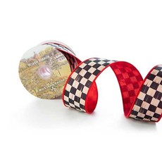 Mackenzie-Childs Courtly Check 2 inch Ribbon, Red