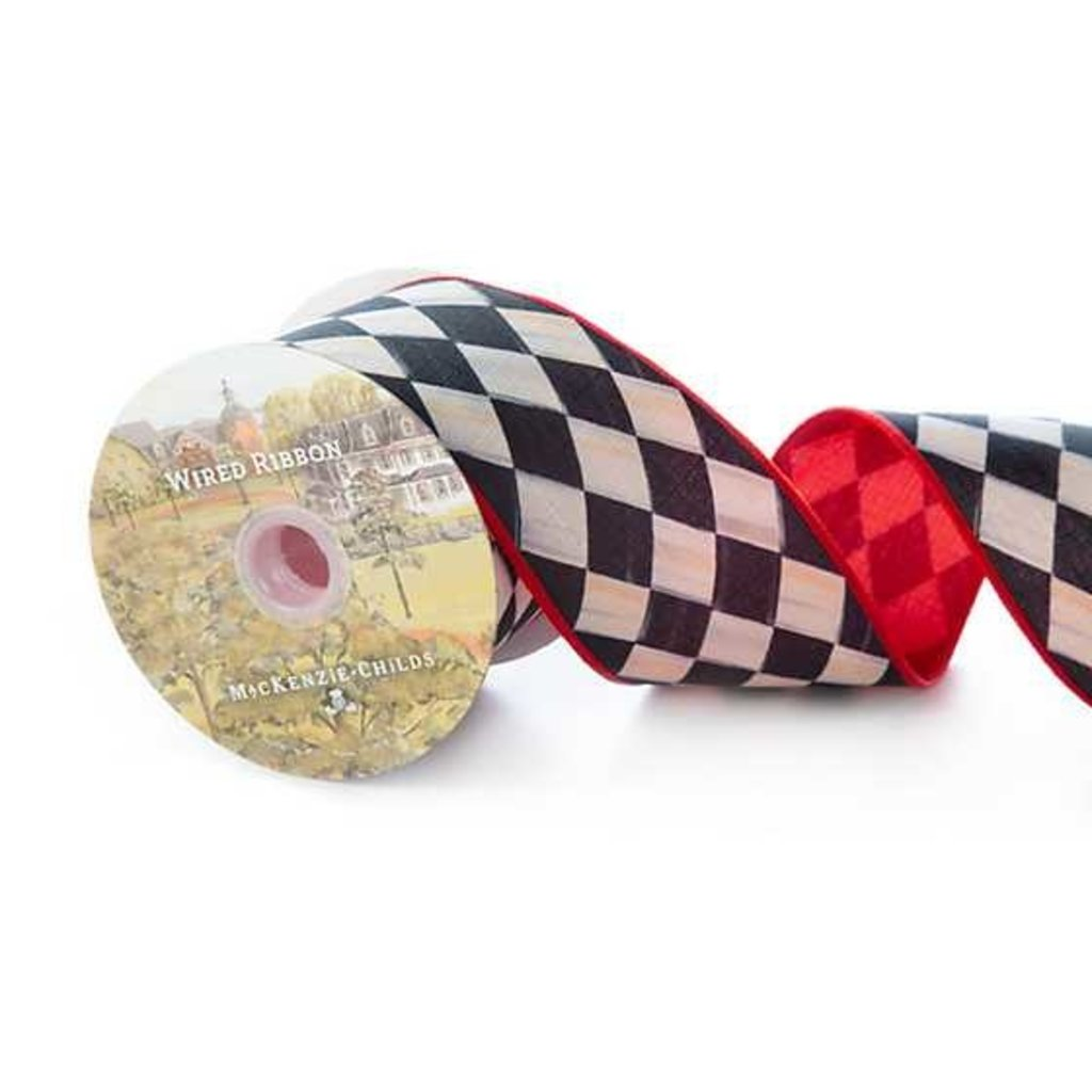 Mackenzie-Childs Courtly Harlequin 3 inch Ribbon, Red